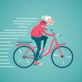 Grand-maman sur un vélo Photo stock