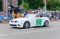 Grand Marshal in Mendota Days Parade. Mendota, Minnesota, USA – JULY 8, 2017: Grand Marshal for the Mendota Days Parade rides in motorcade through main stock images