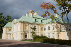 Grand Menshikov Palace in the afternoon under stormy skies. Oranienbaum, Russia Royalty Free Stock Images