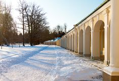 Grand Menshikov Palace gallery. Winter day. Royalty Free Stock Photo