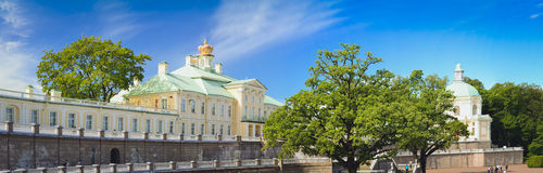 Grand Menshikov Palace in Oranienbaum. LOMONOSOV, RUSSIA - AUGUST 20, 2014: Panorama of the Grand Menshikov Palace, the Palace and Park ensemble of Oranienbaum Royalty Free Stock Images