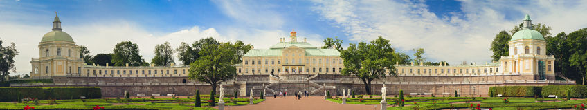 Grand Menshikov Palace in Oranienbaum. LOMONOSOV, RUSSIA - AUGUST 20, 2014: Panorama of the Grand Menshikov Palace, the Palace and Park ensemble of Oranienbaum Stock Photos