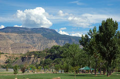 Grand Mesa and Riverbend Park. Municipal park by the Colorado River in Palisade, Colorado with the Grand Mesa in the background Royalty Free Stock Images