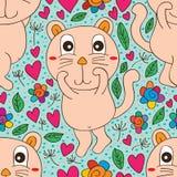 Grand modèle sans couture mignon timide de chat Photos stock