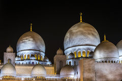 Grand Mosque in Abu Dhabi in Emirates. Domes of Grand Mosque in Abu Dhabi Royalty Free Stock Image