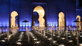 Grand Mosque in Abu Dhabi at night stock video