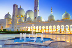 Grand Mosque in Abu Dhabi at night Royalty Free Stock Photo
