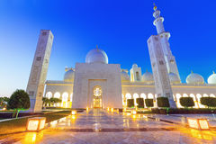 Grand Mosque in Abu Dhabi at night Royalty Free Stock Images