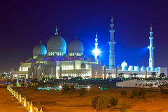 Grand Mosque in Abu Dhabi at night Stock Photography