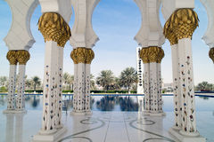 Grand Mosque Abu Dhabi. Pillars in Sheikh Zayed Grand Mosque, Abu Dhabi royalty free stock image