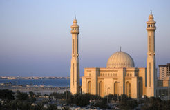 Grand Mosque Bahrain. Sunset at the grand mosque in Bahrain Royalty Free Stock Photos