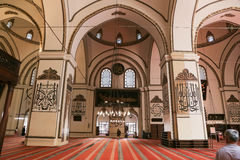 Grand Mosque of Bursa in Turkey. BURSA, TURKEY - JULY 23, 2016: Inside of Grand Mosque of Bursa. Mosque was built in 1399 and has 20 domes, 2 minarets Stock Images
