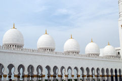 Grand mosque domes at Abu Dhabi. Sheikh Zatyed mosque in United Arab Emirates Royalty Free Stock Photos