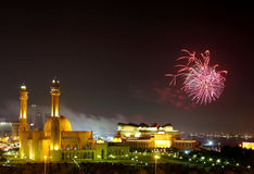 Grand Mosque and Fireworks Stock Images