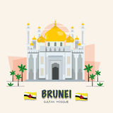 The grand mosque. landmark of brunei. ASEAN set -  Royalty Free Stock Photo