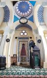 Grand Mosque vertical panorama, in Constanta, Romania. CONSTANTA, ROMANIA - MAY 24, 2018: Grand Mosque vertical panorama. The mosque is referred to by Constanta` royalty free stock photo