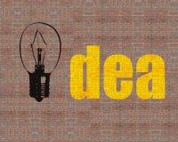Grand mot de lampe et d'idée de dessin sur le mur de briques énorme Photographie stock libre de droits