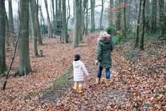 Grand mother and grandchild little girl walking together with the dogs in the countryside suburb area stock photos