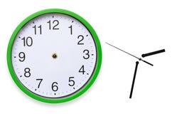 Grand, mur, horloge analogue d'isolement sur le fond blanc Image libre de droits