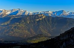 Grand Muveran massif and the Dents des Morcles peaks,Switzerland Stock Image