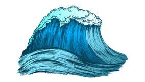 Grand océan tropical mousseux Marine Wave Storm Vector de couleur illustration stock