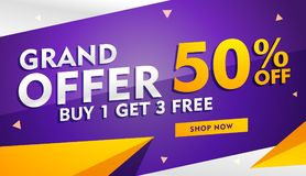 Grand offer sale and discount banner template for promotion Stock Image