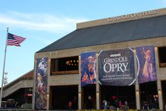 Grand Ole Opry. The front of the legendary country venue in Nashville Tennessee, with American flag Royalty Free Stock Images