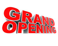 Grand Opening. A part of a series of digitally rendered advertising material. Up close and dramatic Stock Photography