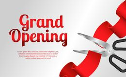Grand opening cutting red ribbon luxury party celebration stock illustration