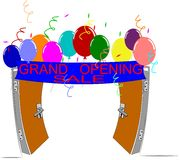 Grand opening. Doors open wide for grand opening with streamers and balloons vector illustration