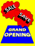 Grand opening. With sale and save signs Royalty Free Stock Image