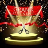 Grand opening background with spotlight and gold confetti on spotlight stage Stock Image
