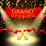 Grand opening background with spotlight and gold confetti Stock Photos