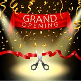 Grand opening background with spotlight and gold confetti Royalty Free Stock Photography