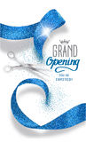 Grand opening banner with abstract blue abstract ribbon and scissors Royalty Free Stock Photos