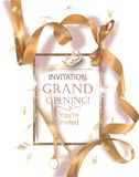 Grand opening banner with curly gold ribbon, scissors and golden frame. Vector illustration vector illustration