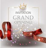 Grand Opening  banner with curly textured ribbons and golden frame and crown. Vector illustration Royalty Free Stock Photos