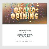 Grand opening banner with festive background vector illustration. Invitation card. Template flyer, invite design element for opening ceremony with text Stock Images