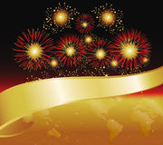Grand Opening Banner Fireworks. Fireworks in Gold and Red. Features World Map and Banner royalty free illustration