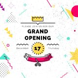 Grand opening banner in memphis style. Grand opening banner. Vector background in retro 80s, 90s memphis style. Scissors cutting red ribbon Royalty Free Stock Photography