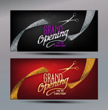 Grand Opening banners with abstract gold and silver ribbons and scissors Stock Photography