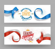 Grand opening banners with abstract red and blue ribbons Royalty Free Stock Photos