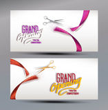 Grand Opening banners with abstract red and pink ribbon and scissors Royalty Free Stock Image