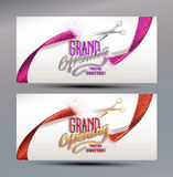 Grand Opening banners with abstract ribbon and scissors. Grand Opening banners with ribbon and scissors Royalty Free Stock Images