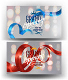 Grand opening banners with curly sparkling ribbons and defocused lights. Stock Image