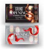 Grand opening banners with curly sparkling ribbons, frames and blurred background. Stock Photography