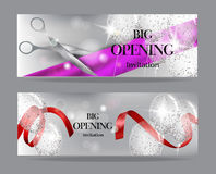 Grand opening banners with transparent air balloons and shiny konfetti Stock Images