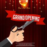 Grand opening business banner. Hand holding scissors and cutting red ribbon on curtains background. vector illustration