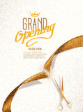 Grand Opening card with gold abstract ribbon and gold scissors Stock Photo