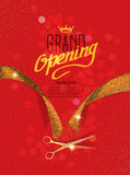 Grand Opening card with gold abstract ribbon and gold scissors on the red background Stock Images